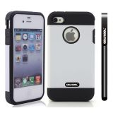 Apple Iphone 4 4S Case Tpu With Pc Double Color 2in1 Hybrid High Impact Protective Case For Apple Iphone 5 5S(White)