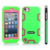 Apple Itouch5 Case Silicone With Hard Pc Double Color 2in1 Hybrid High Impact Protective Case For Apple Itouch5(Green with Pink)