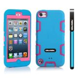 Apple Itouch5 Case Silicone With Hard Pc Double Color 2in1 Hybrid High Impact Protective Case For Apple Itouch5(Sky Blue with Pink)