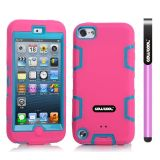 Apple Itouch5 Case Silicone With Hard Pc Double Color 2in1 Hybrid High Impact Protective Case For Apple Itouch5(Pink with Sky Blue)