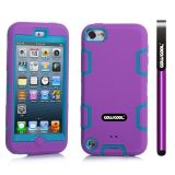 Apple Itouch5 Case Silicone With Hard Pc Double Color 2in1 Hybrid High Impact Protective Case For Apple Itouch5(Purple with Sky Blue)