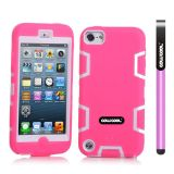 Apple Itouch5 Case Silicone With Hard Pc Double Color 2in1 Hybrid High Impact Protective Case For Apple Itouch5(Pink with White)