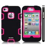 Apple Iphone 4 4S Case Silicone With Hard Pc Double Color 2in1 Hybrid High Impact Protective Case For Apple Iphone 4 4S(Black with Pink)