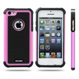 Apple Iphone 5C Case Silicone With Hard Pc Football Texture 2in1 Hybrid High Impact Protective Case For Apple Iphone 5C(Pink)