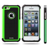 Apple Iphone 5C Case Silicone With Hard Pc Football Texture 2in1 Hybrid High Impact Protective Case For Apple Iphone 5C(Green)