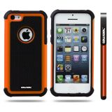 Apple Iphone 5C Case Silicone With Hard Pc Football Texture 2in1 Hybrid High Impact Protective Case For Apple Iphone 5C(Orange)