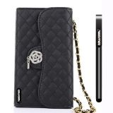 Apple Iphone 5 5S Case Pu Leather Diamond Wire Lattice Hand Stitching Wallet Kickstand Credit Card Holder Protective Case For Apple Iphone 5 5S(Black)