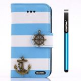 Apple Iphone 4 4S Case Pu Leather Stripe Ladder Hand Stitching Wallet Kickstand Credit Card Holder Protective Case For Apple Iphone 4 4S(Sky Blue with White)