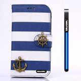 Apple Iphone 4 4S Case Pu Leather Stripe Ladder Hand Stitching Wallet Kickstand Credit Card Holder Protective Case For Apple Iphone 4 4S(Deep Blue with White)