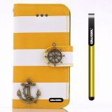 Apple Iphone 4 4S Case Pu Leather Stripe Ladder Hand Stitching Wallet Kickstand Credit Card Holder Protective Case For Apple Iphone 4 4S(Yellow with White)