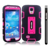 Samsung 9500 Galaxy S4 Case Silicone With Hard Pc Double Color 2in1 Hybrid High Impact With Kickstand Protective Case For Samsung 9500 Galaxy S4(Black with Pink)