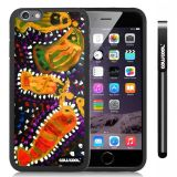 Apple iphone 6 4.7 Inch Soft Silicone Colorful kid Watercolor Fish Competition food Black Shell Single Layer Protective Case (19)