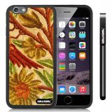 Apple iphone 6 4.7 inch Case Hard Golden Flower Black Shell Single Layer Protective Case (Style2)