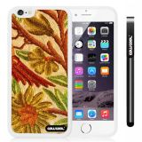 Apple iphone 6 4.7 inch Case Hard Golden Flower White Shell Single Layer Protective Case (Style2)