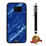 Galaxy S7 edge Case, Marble Pattern Case, Cowcool Ultra Thin Soft Silicone Case for Samsung Galaxy S7 edge - Blue White Oblique Cut Marble Texture