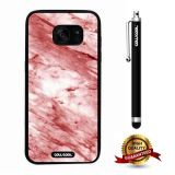 Galaxy S7 edge Case, Marble Pattern Case, Cowcool Ultra Thin Soft Silicone Case for Samsung Galaxy S7 edge - Red White Oblique Cut Marble Texture