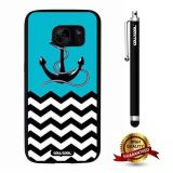 Galaxy S7 Case, Anchor Case, Cowcool Ultra Thin Soft Silicone Case for Samsung Galaxy S7 - Black Chevron Patterns Blue Anchor