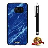 Galaxy S7 Case, Marble Pattern Case, Cowcool Ultra Thin Soft Silicone Case for Samsung Galaxy S7 - Blue White Oblique Cut Marble Texture