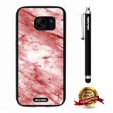 Galaxy S7 Case, Marble Pattern Case, Cowcool Ultra Thin Soft Silicone Case for Samsung Galaxy S7 - Red White Oblique Cut Marble Texture