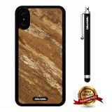 iPhone X Case, Marble Pattern Case, Cowcool Ultra Thin Soft Silicone Case for Apple iPhone 10 - Brown Interlaced Twill Marble Texture