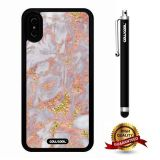 iPhone X Case, Marble Pattern Case, Cowcool Ultra Thin Soft Silicone Case for Apple iPhone 10 - Golden Fine Lines Marble Texture