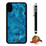 iPhone X Case, Marble Pattern Case, Cowcool Ultra Thin Soft Silicone Case for Apple iPhone 10 - Bright Blue Marble Texture