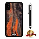 iPhone X Case, Marble Pattern Case, Cowcool Ultra Thin Soft Silicone Case for Apple iPhone 10 - Orange Black Marble Texture