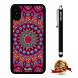 iPhone X Case, Mantra Case, Cowcool Ultra Thin Soft Silicone Case for Apple iPhone 10 - Crimson Pink Tribal Mantra Flower