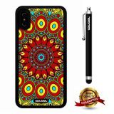 iPhone X Case, Mantra Case, Cowcool Ultra Thin Soft Silicone Case for Apple iPhone 10 - Crimson Yellow Tribe Mandala Flower