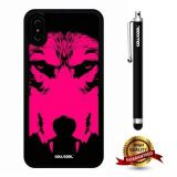 iPhone X Case, Wolf Case, Cowcool Ultra Thin Soft Silicone Case for Apple iPhone 10 - Black Hot Pink Wolf Face