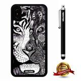 iPhone X Case, Tiger Leopard Case, Cowcool Ultra Thin Soft Silicone Case for Apple iPhone 10 - Hand Painted Tiger Leopard Mosaic Head