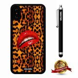 iPhone X Case, Leopard Lip Case, Cowcool Ultra Thin Soft Silicone Case for Apple iPhone 10 - Leopard Girl Red Lip