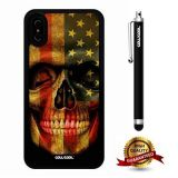 iPhone X Case, Skull Case, Cowcool Ultra Thin Soft Silicone Case for Apple iPhone 10 - American Flag Skeleton