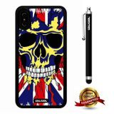 iPhone X Case, Skull Case, Cowcool Ultra Thin Soft Silicone Case for Apple iPhone 10 - British Flag Hand Painted Skeleton
