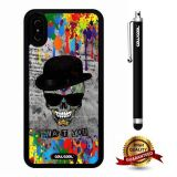 iPhone X Case, Skull Case, Cowcool Ultra Thin Soft Silicone Case for Apple iPhone 10 - Spatter Ink Drops Skull I Want You