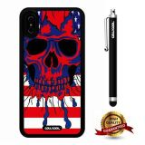iPhone X Case, Skull Case, Cowcool Ultra Thin Soft Silicone Case for Apple iPhone 10 - American Flag Hand Painted Skeleton