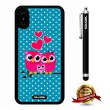 iPhone X Case, Owl Case, Cowcool Ultra Thin Soft Silicone Case for Apple iPhone 10 - Blue White Polka Dots Rose Pink Owl