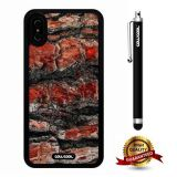 iPhone X Case, Wood Texture Case, Cowcool Ultra Thin Soft Silicone Case for Apple iPhone 10 - Red Black Wood Texture