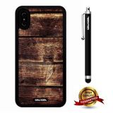 iPhone X Case, Wood Texture Case, Cowcool Ultra Thin Soft Silicone Case for Apple iPhone 10 - Horizontal Overlay Wood Texture