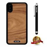 iPhone X Case, Wood Texture Case, Cowcool Ultra Thin Soft Silicone Case for Apple iPhone 10 - Deep Palm Roots Slice Wood Texture