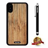 iPhone X Case, Wood Texture Case, Cowcool Ultra Thin Soft Silicone Case for Apple iPhone 10 - Vertical Wood Chips Wood Texture
